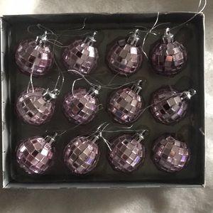 set of 12 disco ball like shiny purple ornaments☃️